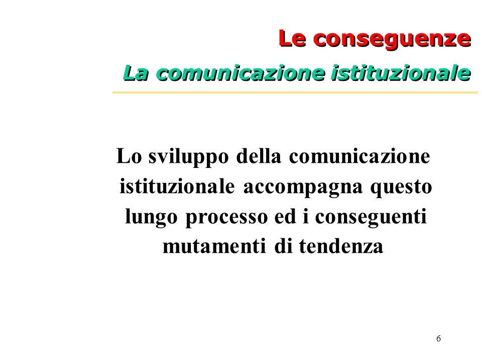 6 Le conseguenze La comunicazione istituzionale Le conseguenze La comunicazione istituzionale Lo sviluppo della comunicazione istituzionale accompagna questo lungo processo ed i conseguenti mutamenti di tendenza