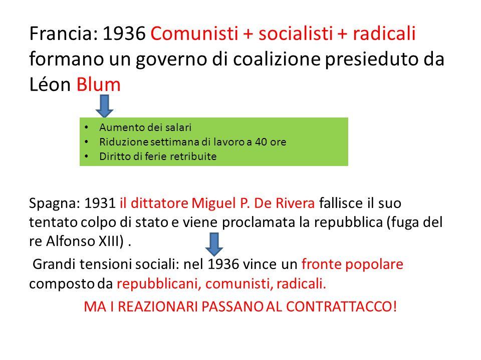 Francia: 1936 Comunisti + socialisti + radicali formano un governo di coalizione presieduto da Léon Blum Spagna: 1931 il dittatore Miguel P. De Rivera