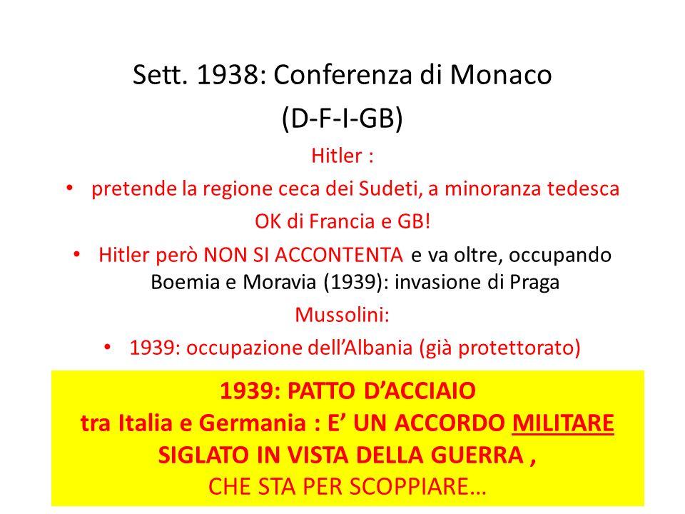 Sett. 1938: Conferenza di Monaco (D-F-I-GB) Hitler : pretende la regione ceca dei Sudeti, a minoranza tedesca OK di Francia e GB! Hitler però NON SI A