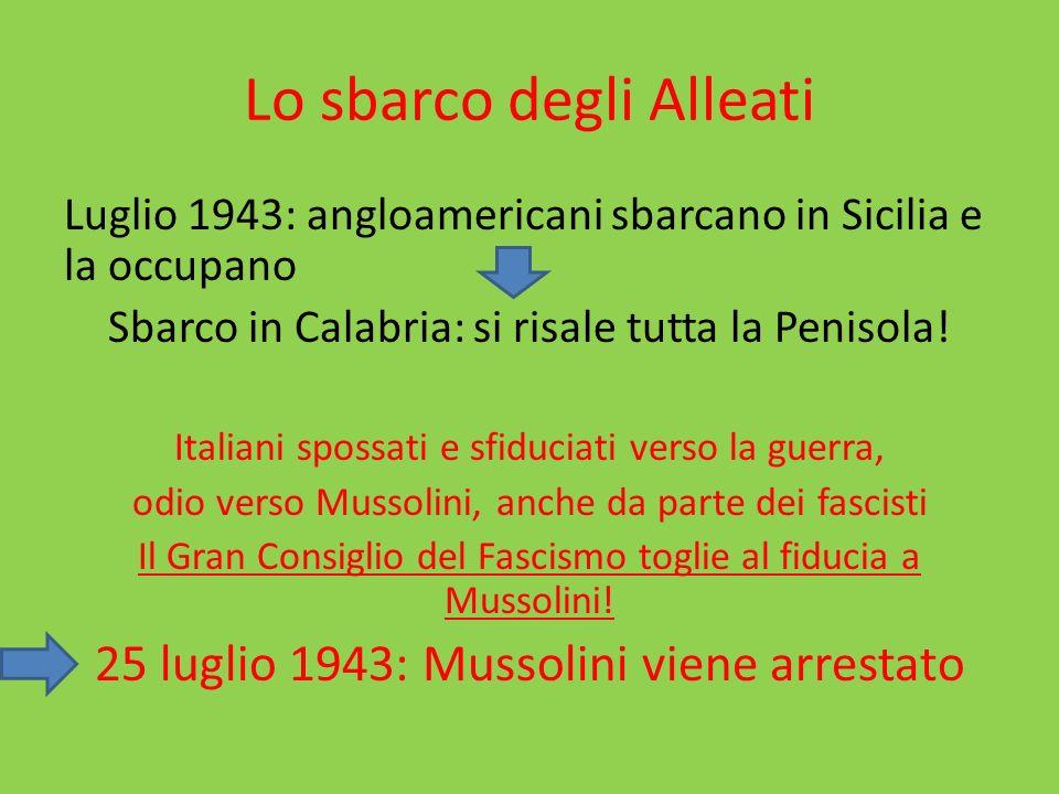 Lo sbarco degli Alleati Luglio 1943: angloamericani sbarcano in Sicilia e la occupano Sbarco in Calabria: si risale tutta la Penisola.