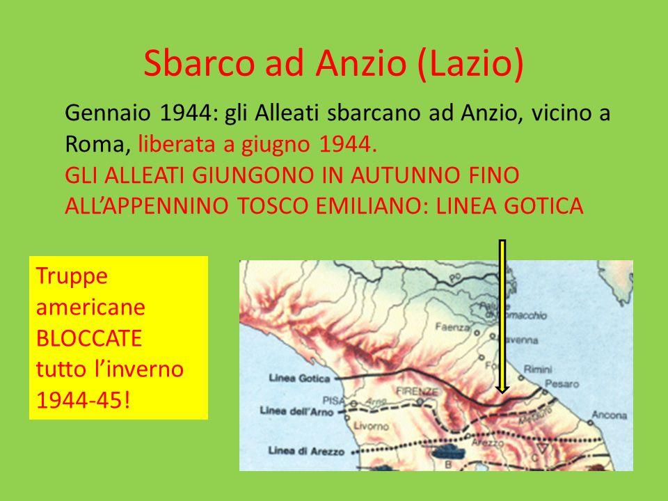 Sbarco ad Anzio (Lazio) Gennaio 1944: gli Alleati sbarcano ad Anzio, vicino a Roma, liberata a giugno 1944.