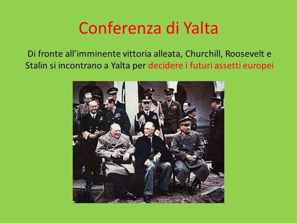 Conferenza di Yalta Di fronte allimminente vittoria alleata, Churchill, Roosevelt e Stalin si incontrano a Yalta per decidere i futuri assetti europei
