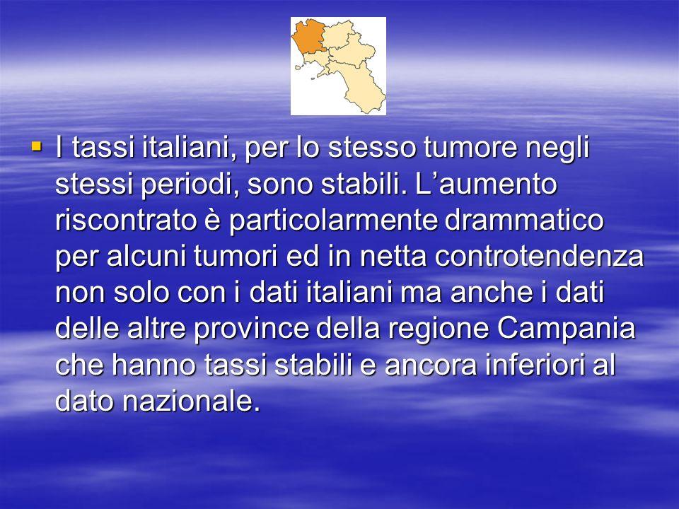 I tassi italiani, per lo stesso tumore negli stessi periodi, sono stabili. Laumento riscontrato è particolarmente drammatico per alcuni tumori ed in n
