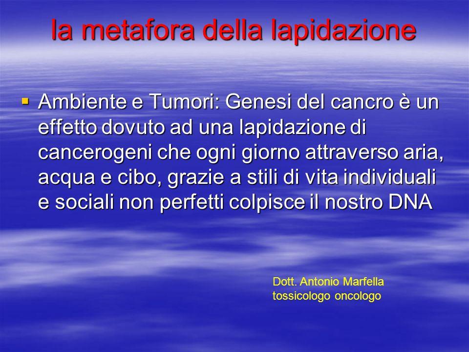 la metafora della lapidazione Ambiente e Tumori: Genesi del cancro è un effetto dovuto ad una lapidazione di cancerogeni che ogni giorno attraverso ar