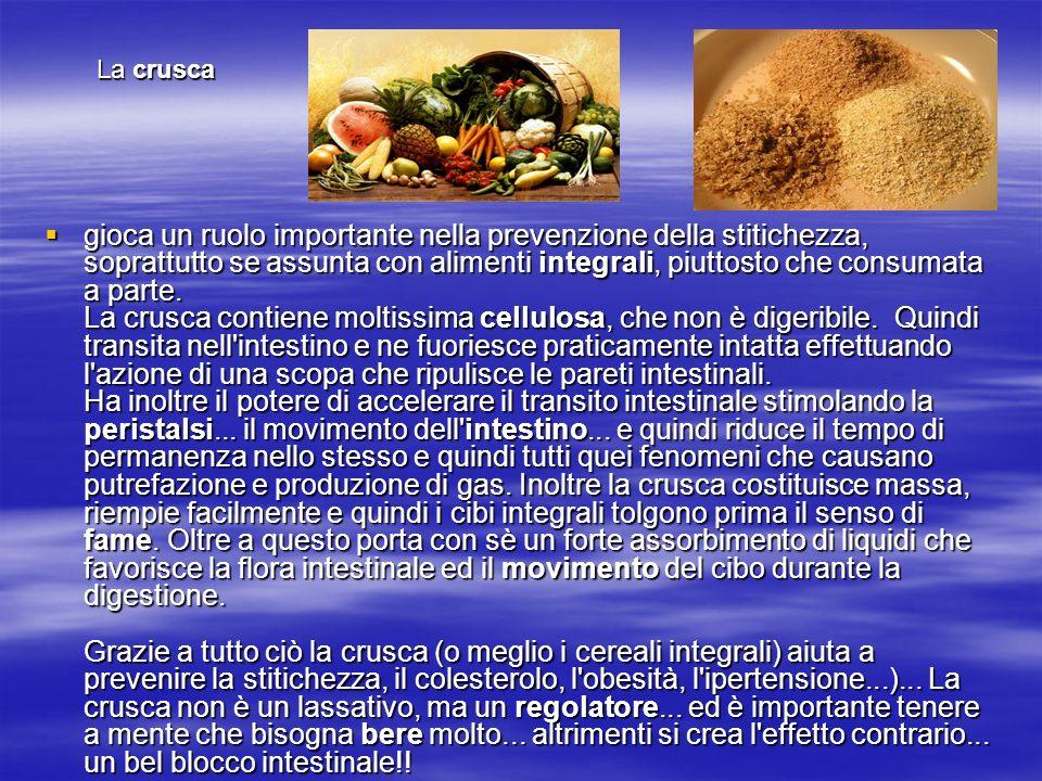 gioca un ruolo importante nella prevenzione della stitichezza, soprattutto se assunta con alimenti integrali, piuttosto che consumata a parte.