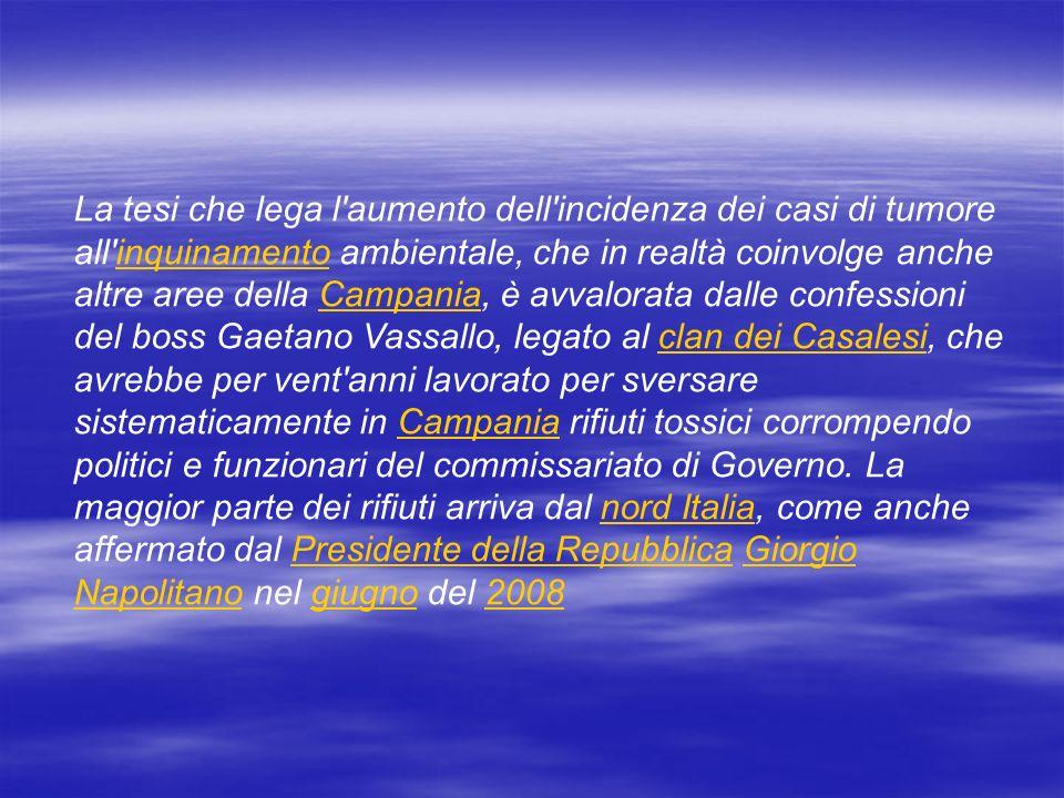 La tesi che lega l'aumento dell'incidenza dei casi di tumore all'inquinamento ambientale, che in realtà coinvolge anche altre aree della Campania, è a