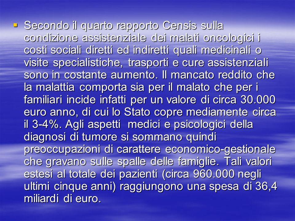 Secondo il quarto rapporto Censis sulla condizione assistenziale dei malati oncologici i costi sociali diretti ed indiretti quali medicinali o visite