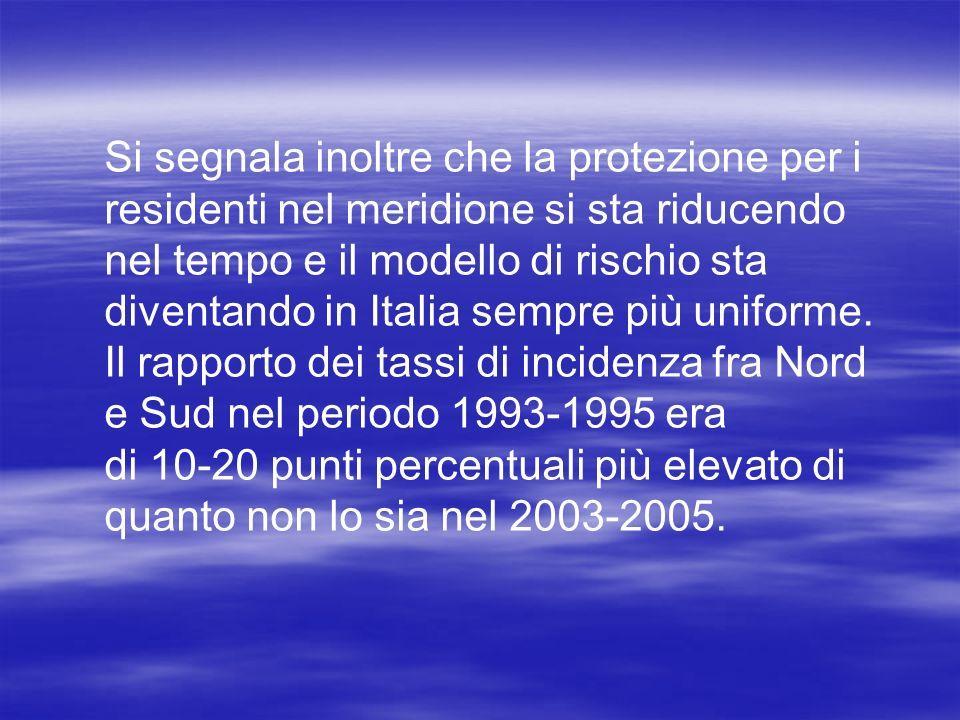 Si segnala inoltre che la protezione per i residenti nel meridione si sta riducendo nel tempo e il modello di rischio sta diventando in Italia sempre più uniforme.