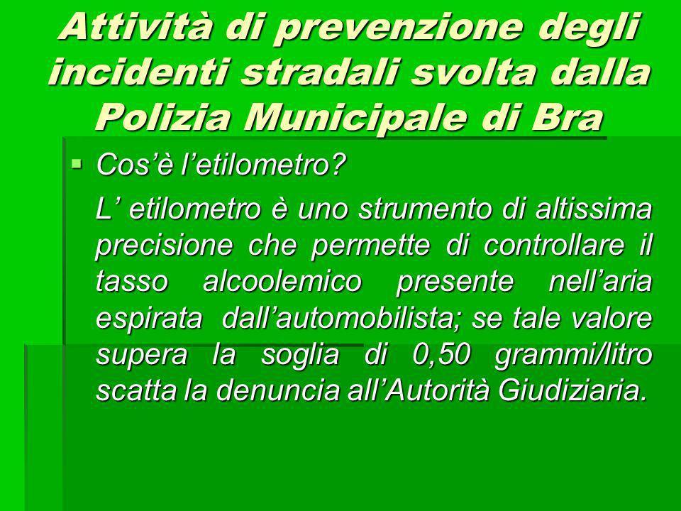 Attività di prevenzione degli incidenti stradali svolta dalla Polizia Municipale di Bra Cosè letilometro.