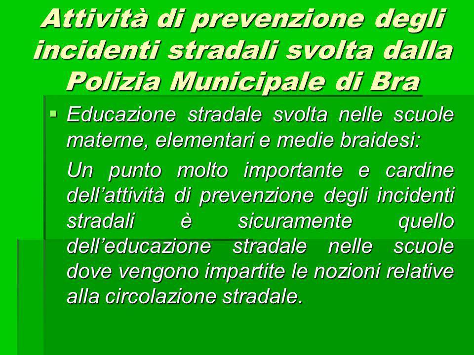 Attività di prevenzione degli incidenti stradali svolta dalla Polizia Municipale di Bra Educazione stradale svolta nelle scuole materne, elementari e