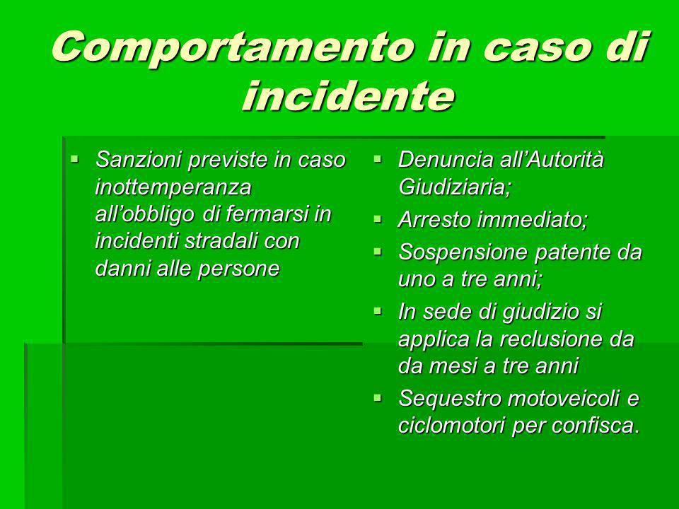 Comportamento in caso di incidente Sanzioni previste in caso inottemperanza allobbligo di fermarsi in incidenti stradali con danni alle persone Sanzio