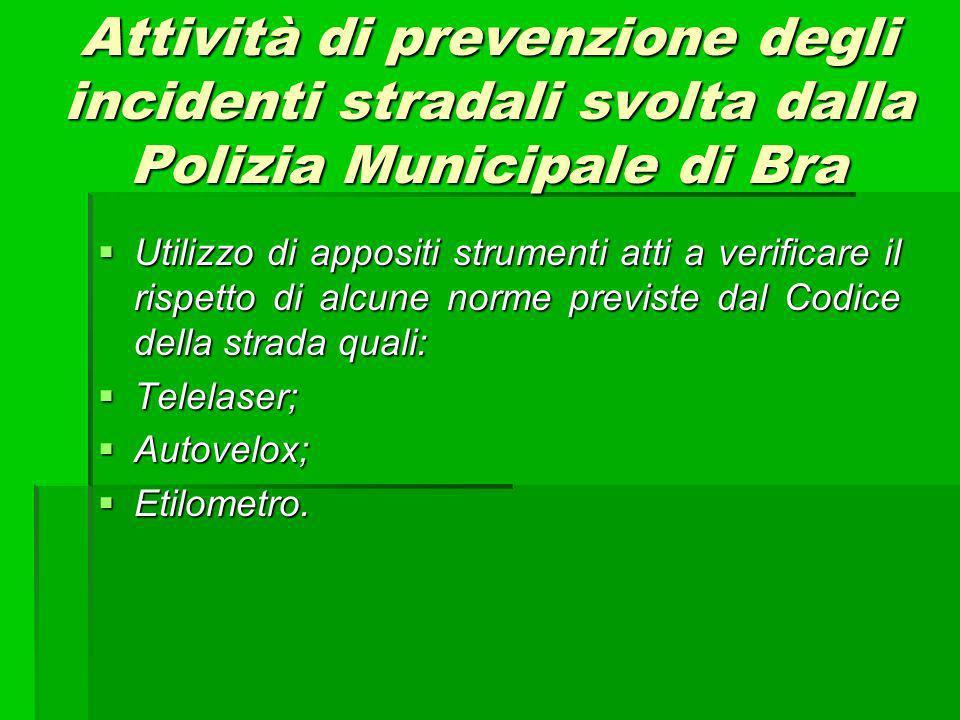 Attività di prevenzione degli incidenti stradali svolta dalla Polizia Municipale di Bra Utilizzo di appositi strumenti atti a verificare il rispetto d