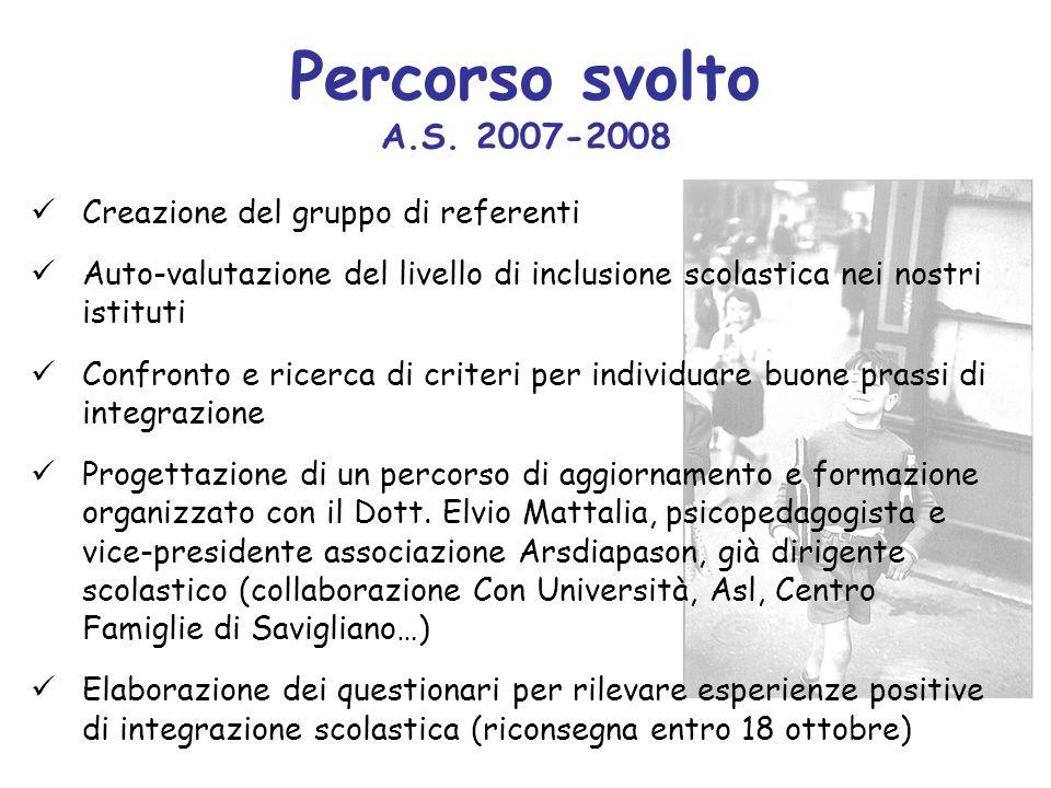 Percorso svolto A.S. 2007-2008 Creazione del gruppo di referenti Auto-valutazione del livello di inclusione scolastica nei nostri istituti Confronto e