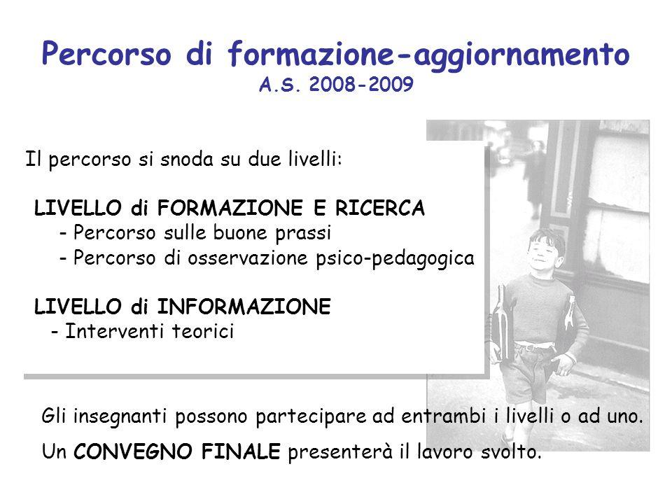 Percorso di formazione-aggiornamento A.S. 2008-2009 Il percorso si snoda su due livelli: LIVELLO di FORMAZIONE E RICERCA - Percorso sulle buone prassi