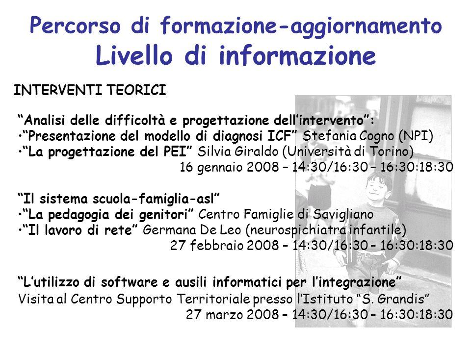 Percorso di formazione-aggiornamento Livello di informazione Analisi delle difficoltà e progettazione dellintervento: Presentazione del modello di dia