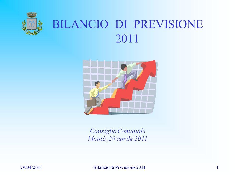 29/04/2011Bilancio di Previsione 20111 BILANCIO DI PREVISIONE 2011 Consiglio Comunale Montà, 29 aprile 2011