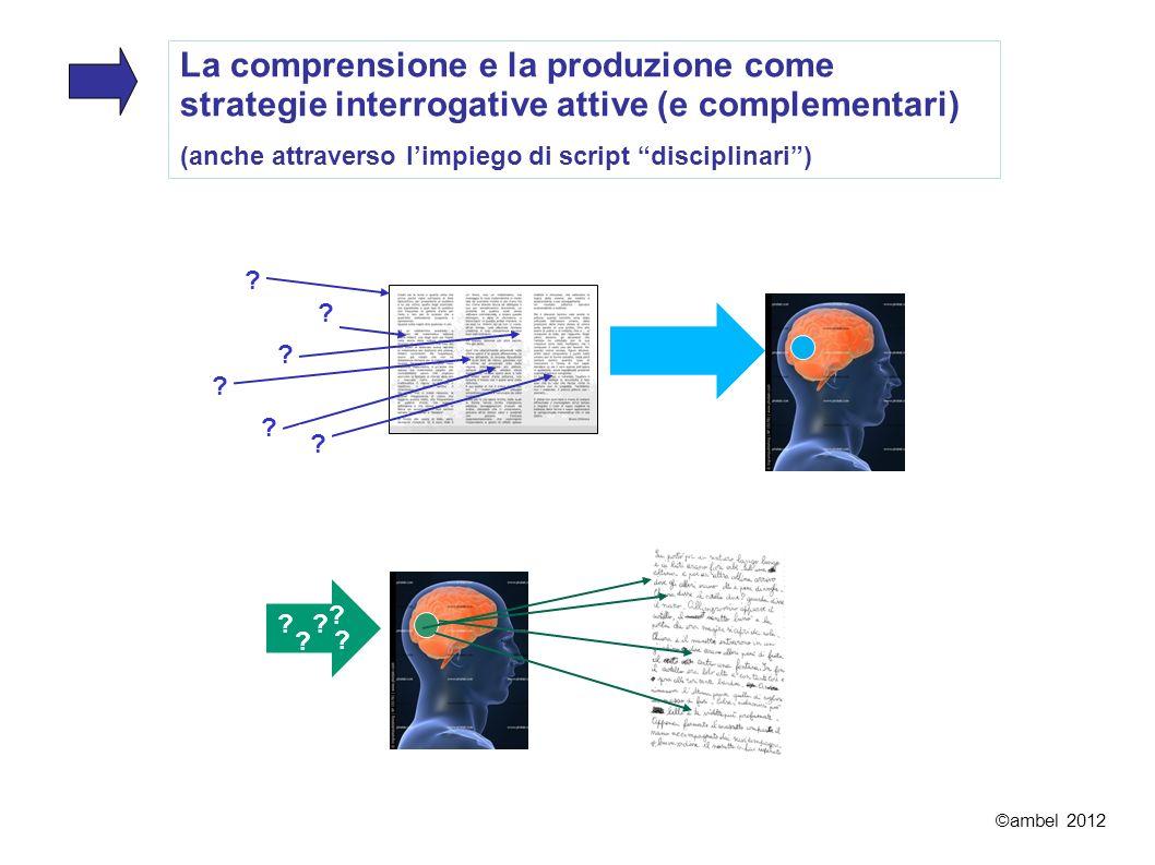La comprensione e la produzione come strategie interrogative attive (e complementari) (anche attraverso limpiego di script disciplinari) ©ambel 2012 ?