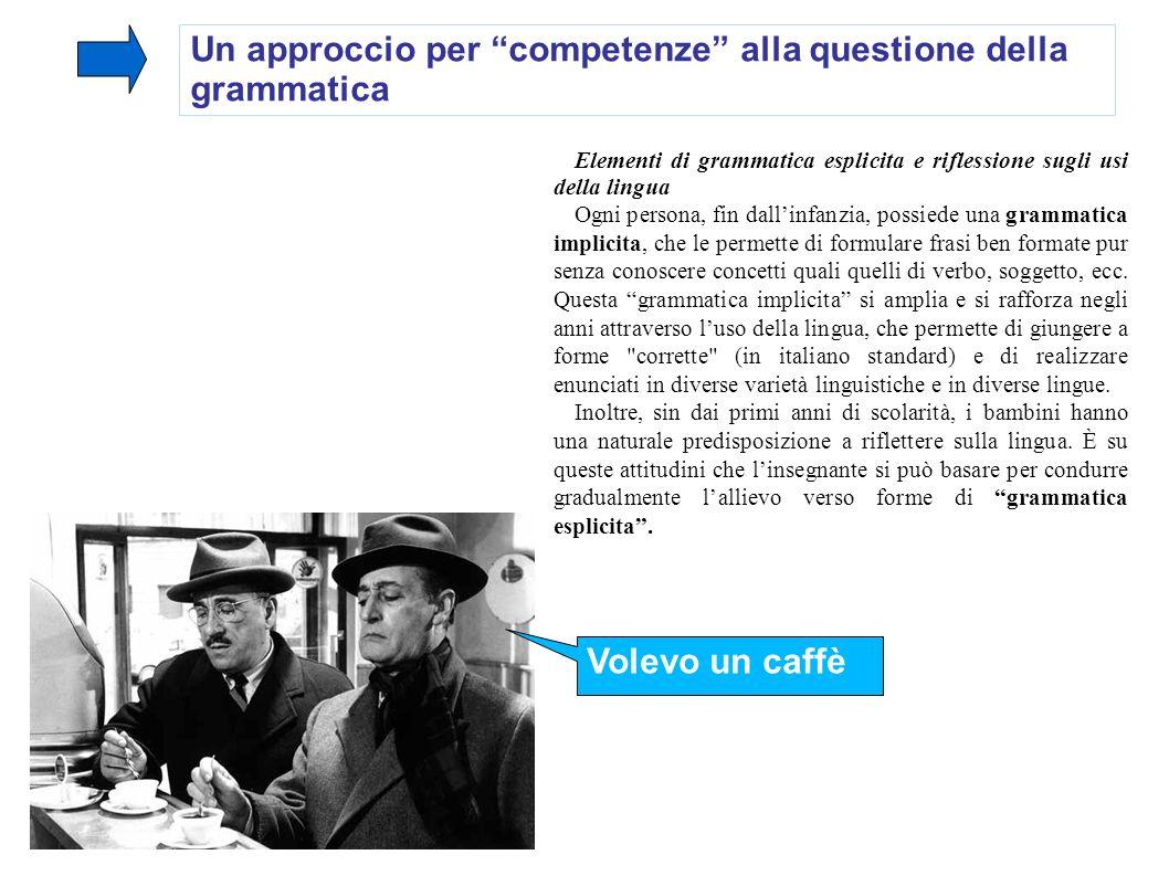 Un approccio per competenze alla questione della grammatica Elementi di grammatica esplicita e riflessione sugli usi della lingua Ogni persona, fin da