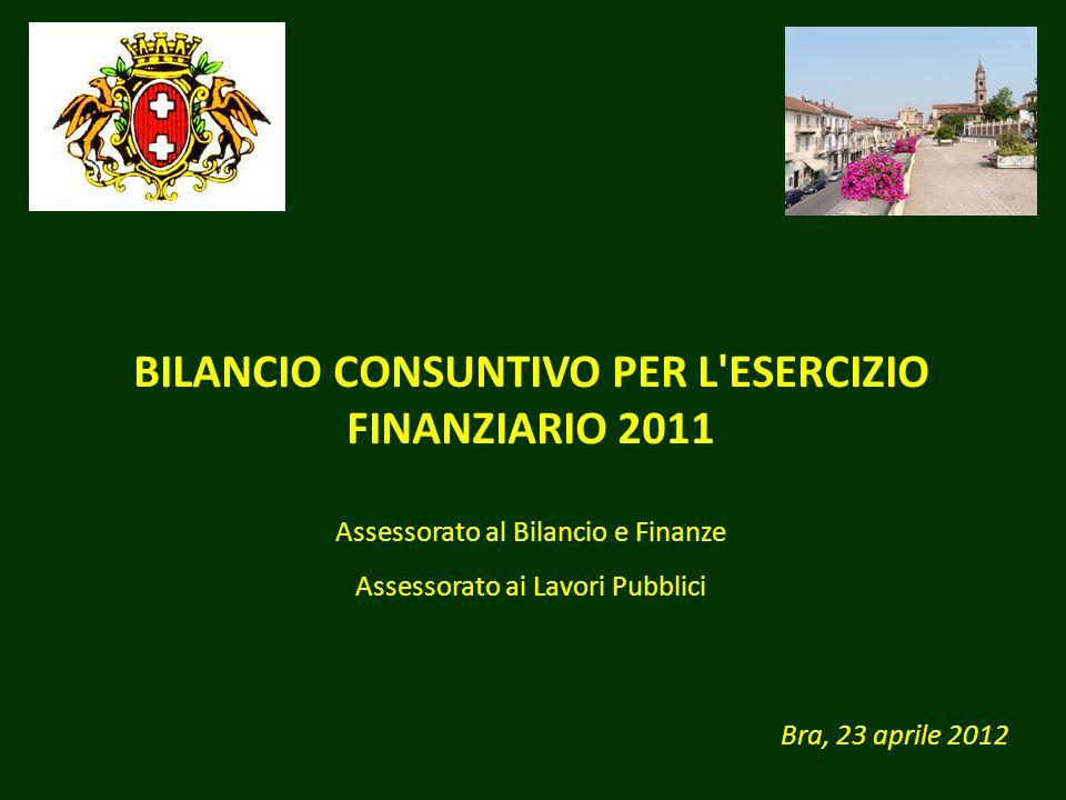 BILANCIO CONSUNTIVO PER L'ESERCIZIO FINANZIARIO 2011 Bra, 23 aprile 2012 Assessorato al Bilancio e Finanze Assessorato ai Lavori Pubblici