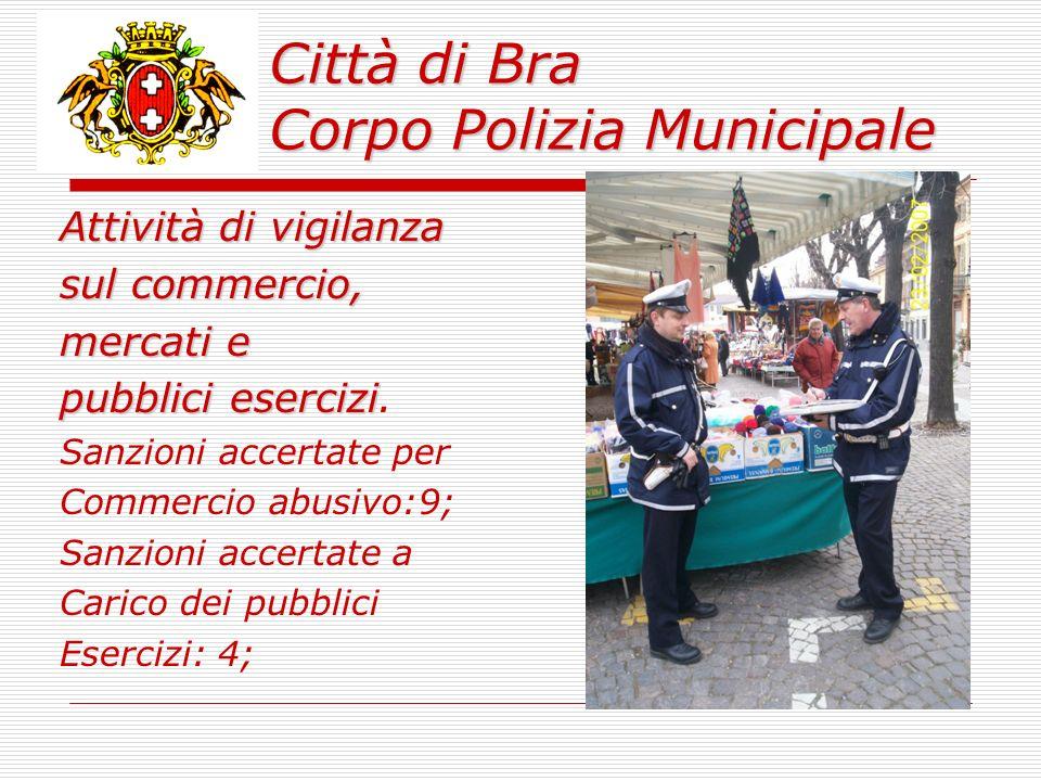 Città di Bra Corpo Polizia Municipale Attività di vigilanza sul commercio, mercati e pubblici esercizi pubblici esercizi.