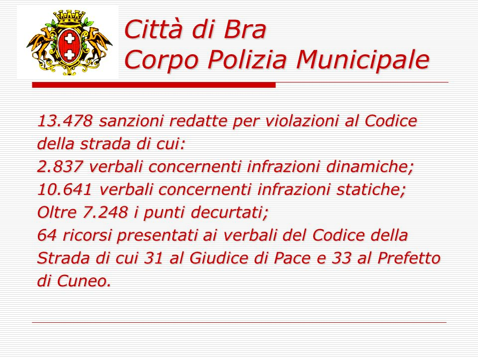 Città di Bra Corpo Polizia Municipale 1 Phone Center – Internet Point chiuso