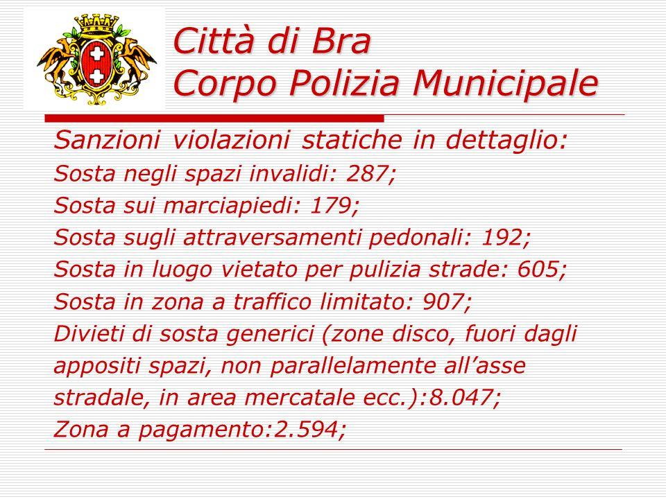 Città di Bra Corpo Polizia Municipale 315 i veicoli rimossi per sosta in luogo vietato (manifestazioni, mercati, intralcio ecc.).