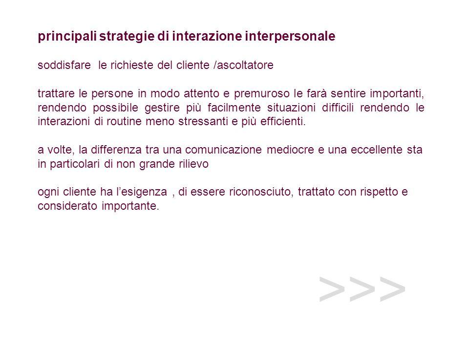 >>> principali strategie di interazione interpersonale soddisfare le richieste del cliente /ascoltatore trattare le persone in modo attento e premuros