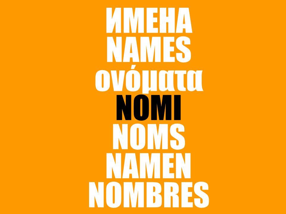 NOMI NAMES NAMEN NOMS ονόματα ИМЕНА NOMBRES