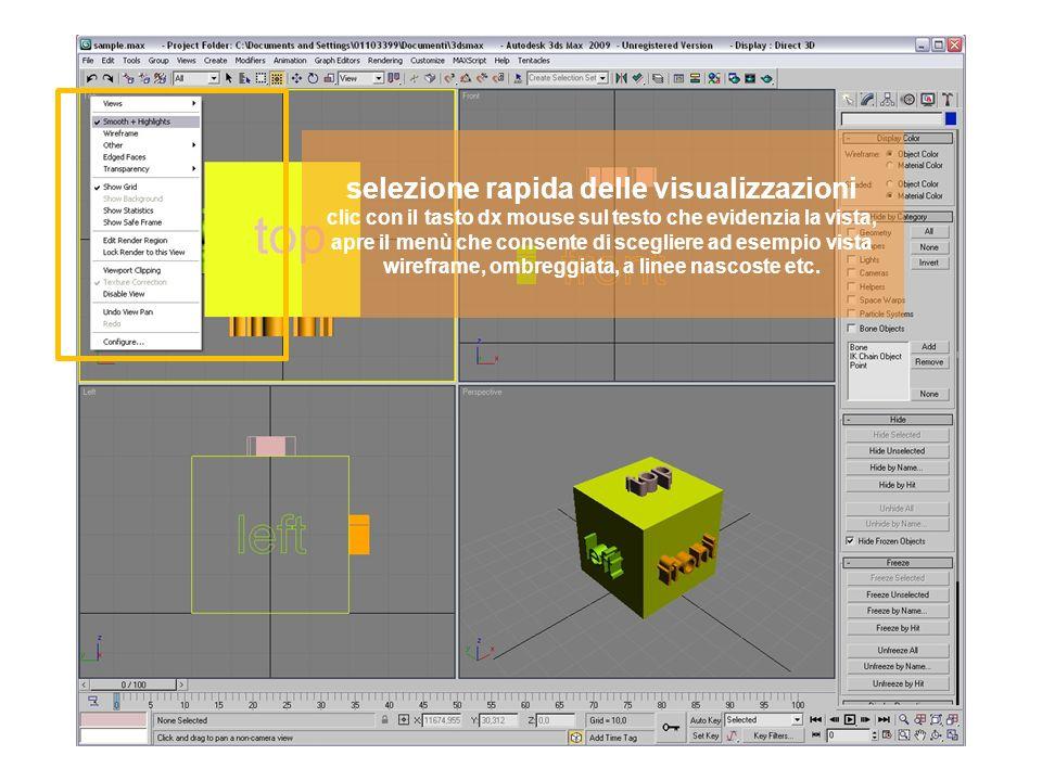 selezione rapida delle visualizzazioni clic con il tasto dx mouse sul testo che evidenzia la vista, apre il menù che consente di scegliere ad esempio vista wireframe, ombreggiata, a linee nascoste etc.