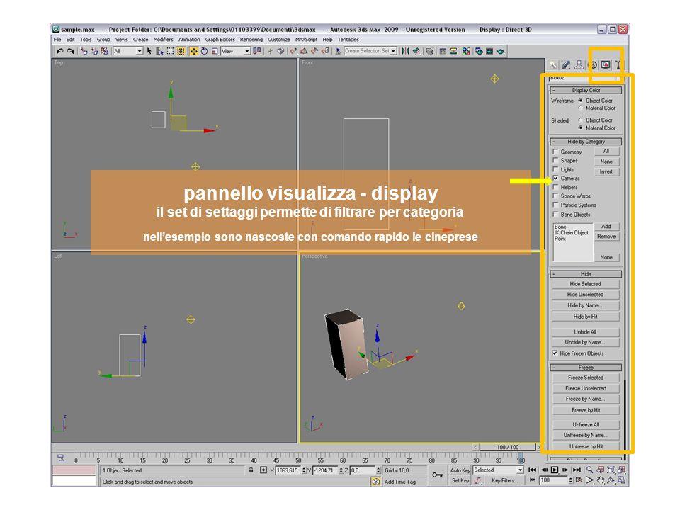 pannello visualizza - display il set di settaggi permette di filtrare per categoria nellesempio sono nascoste con comando rapido le cineprese