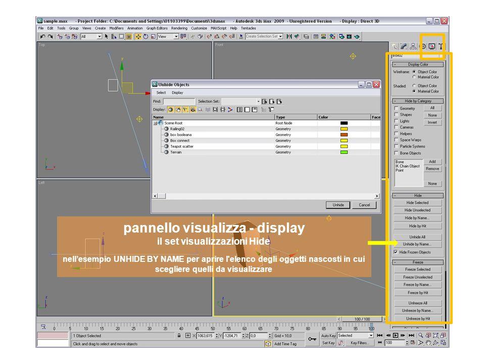 pannello visualizza - display il set visualizzazioni freeze nellesempio FREEZE BY NAME per aprire l elenco degli oggetti da congelare