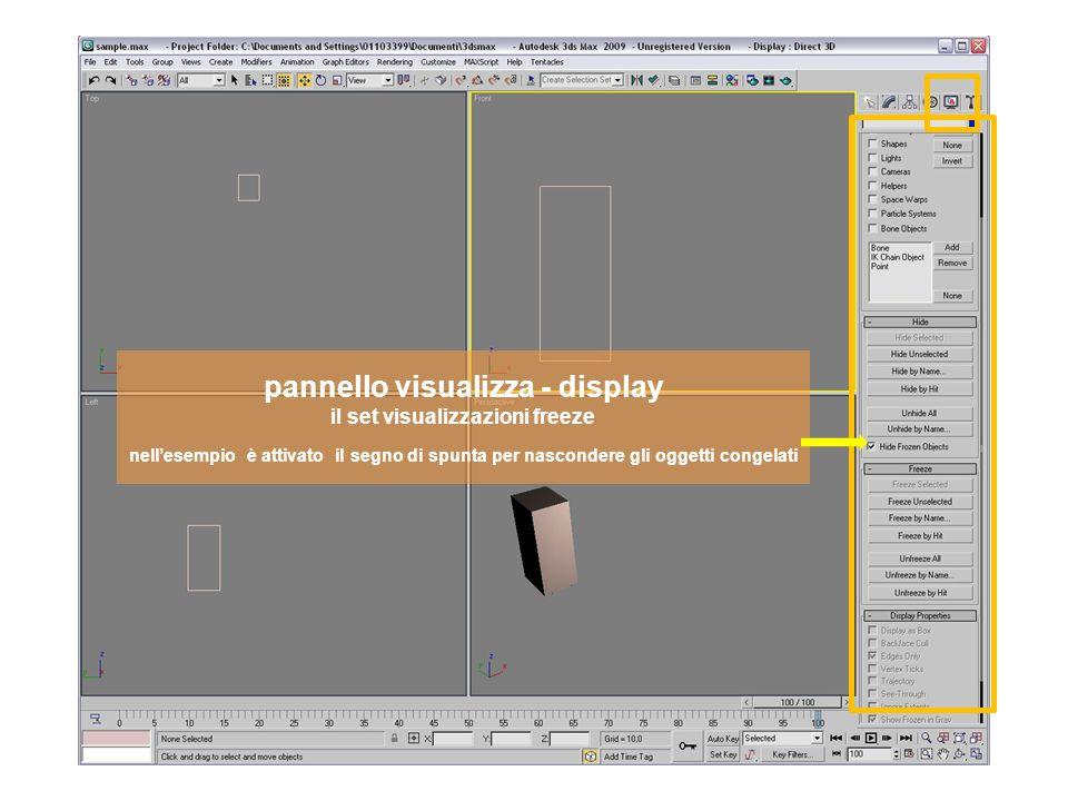 pannello visualizza - display il set visualizzazioni freeze nellesempio è attivato il segno di spunta per nascondere gli oggetti congelati