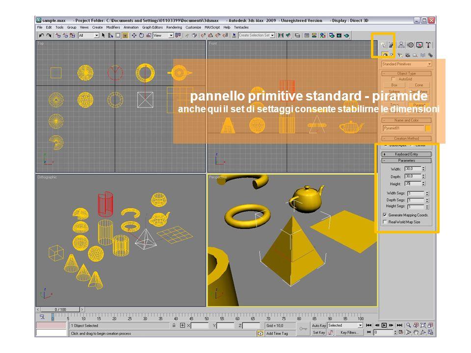 pannello primitive standard - piramide anche qui il set di settaggi consente stabilirne le dimensioni