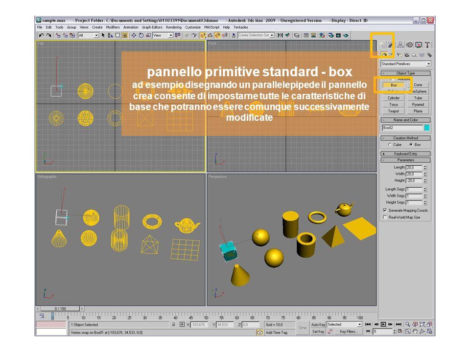 pannello primitive standard - box ad esempio disegnando un parallelepipede il pannello crea consente di impostarne tutte le caratteristiche di base che potranno essere comunque successivamente modificate