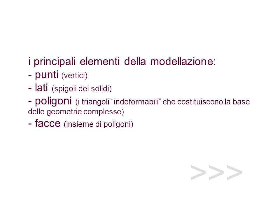 >>> i principali elementi della modellazione: - punti (vertici) - lati (spigoli dei solidi) - poligoni (i triangoli indeformabili che costituiscono la