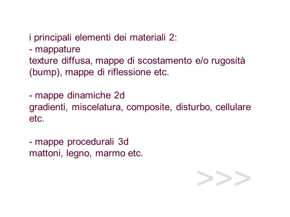>>> i principali elementi dei materiali 2: - mappature texture diffusa, mappe di scostamento e/o rugosità (bump), mappe di riflessione etc. - mappe di