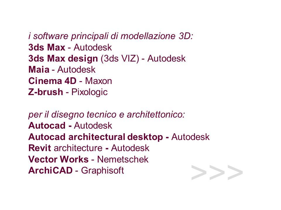 >>> i software principali di modellazione 3D: 3ds Max - Autodesk 3ds Max design (3ds VIZ) - Autodesk Maia - Autodesk Cinema 4D - Maxon Z-brush - Pixologic per il disegno tecnico e architettonico: Autocad - Autodesk Autocad architectural desktop - Autodesk Revit architecture - Autodesk Vector Works - Nemetschek ArchiCAD - Graphisoft