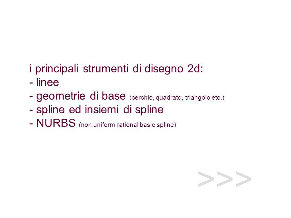 >>> i principali strumenti di disegno 2d: - linee - geometrie di base (cerchio, quadrato, triangolo etc.) - spline ed insiemi di spline - NURBS (non uniform rational basic spline)