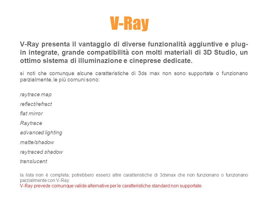 V-Ray presenta il vantaggio di diverse funzionalità aggiuntive e plug- in integrate, grande compatibilità con molti materiali di 3D Studio, un ottimo