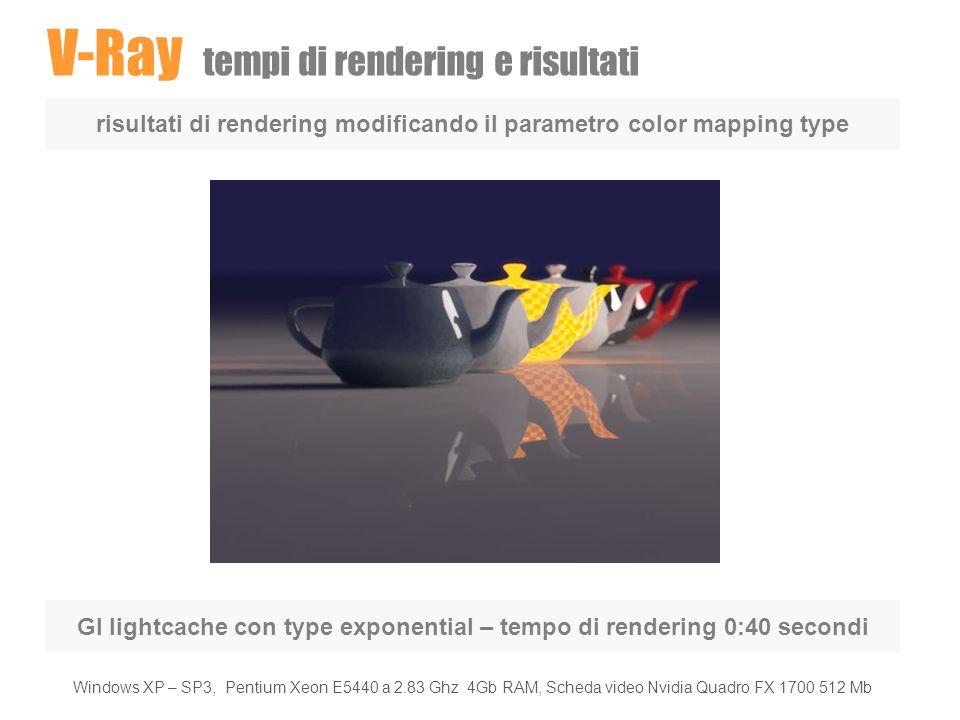 V-Ray tempi di rendering e risultati risultati di rendering modificando il parametro color mapping type GI lightcache con type exponential – tempo di