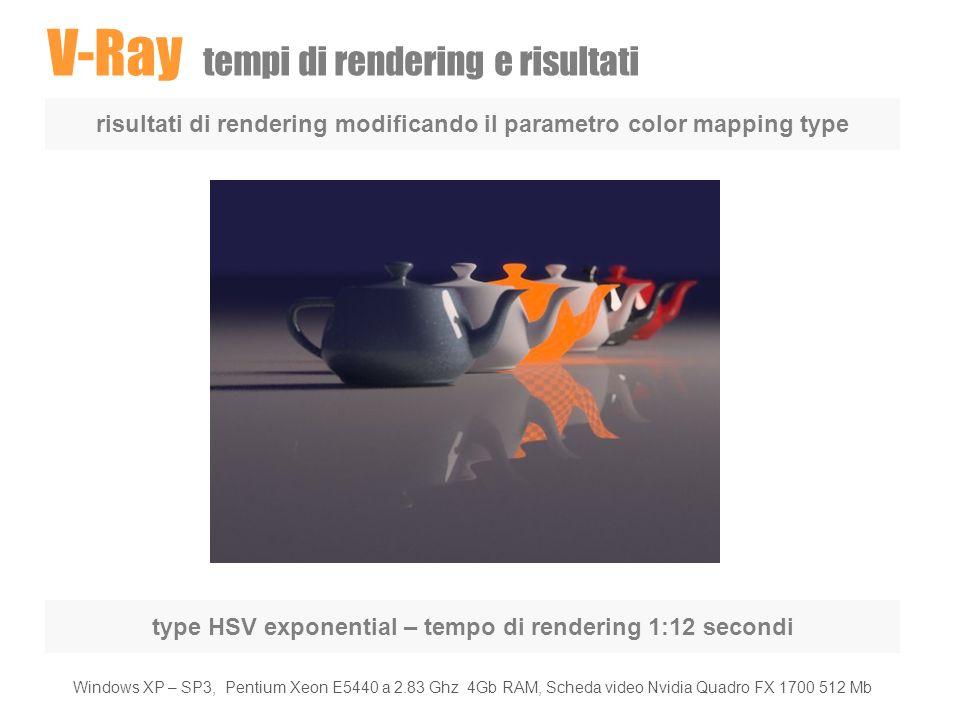 V-Ray tempi di rendering e risultati risultati di rendering modificando il parametro color mapping type type HSV exponential – tempo di rendering 1:12