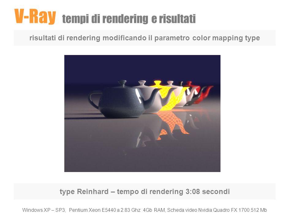 V-Ray tempi di rendering e risultati risultati di rendering modificando il parametro color mapping type type Reinhard – tempo di rendering 3:08 second