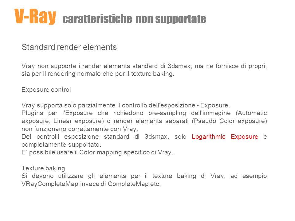 Lights Skylight Lo standard skylight di 3dsmax non è supportato da Vray e può far andare in crash il rendering.