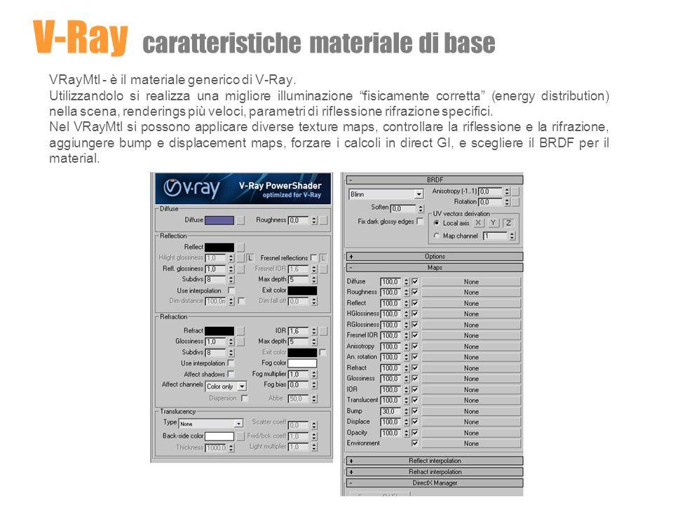 VRayMtl - è il materiale generico di V-Ray. Utilizzandolo si realizza una migliore illuminazione fisicamente corretta (energy distribution) nella scen