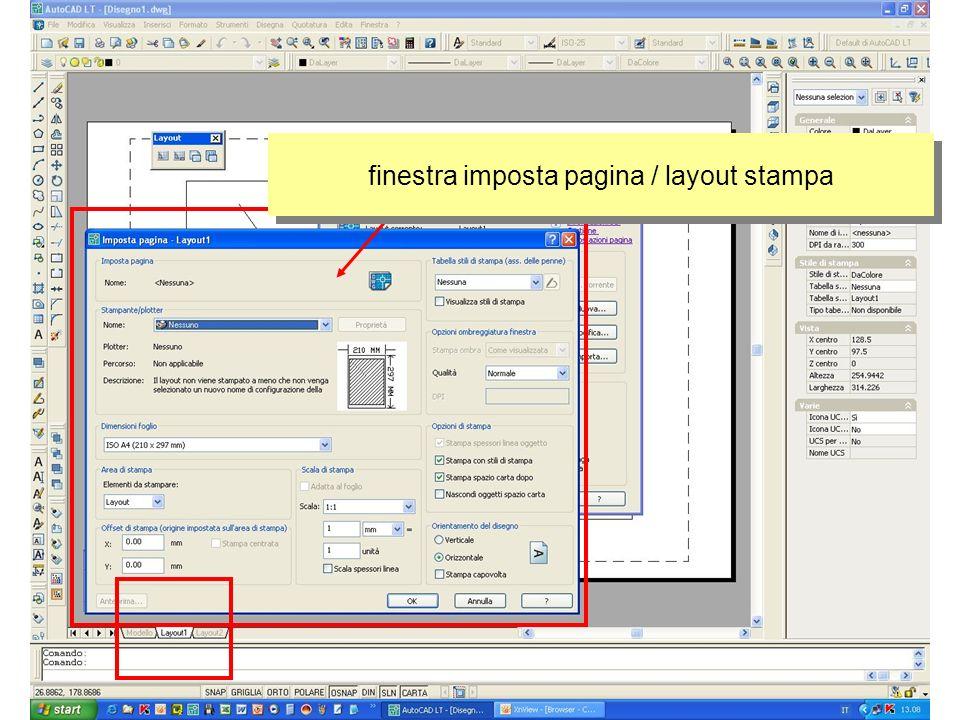 finestra imposta pagina / layout stampa