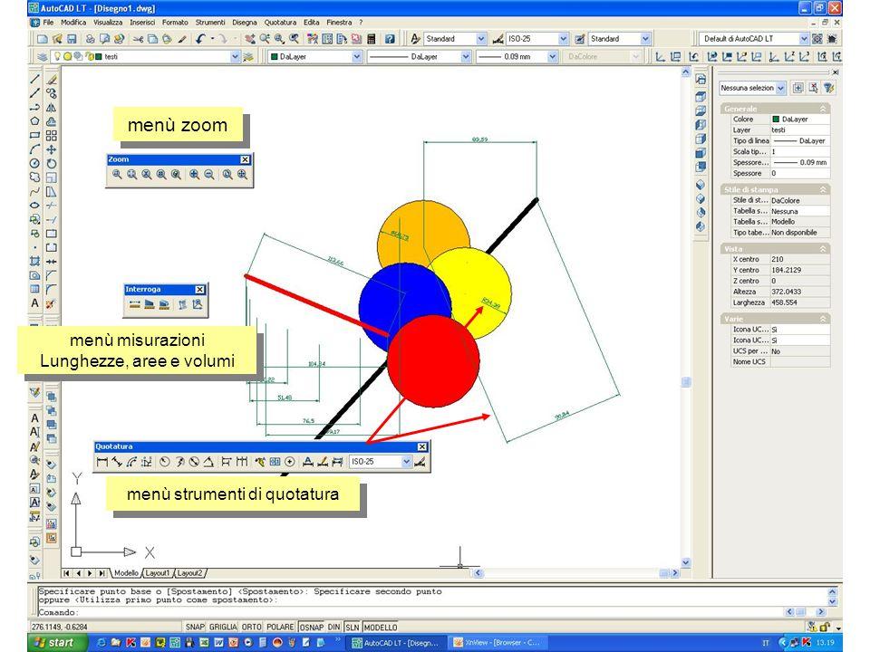 menù zoom menù strumenti di quotatura menù misurazioni Lunghezze, aree e volumi