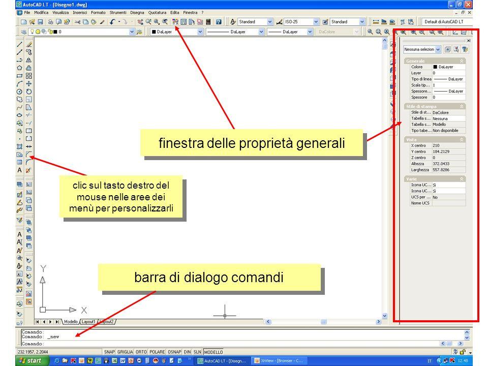 finestra delle proprietà generali barra di dialogo comandi clic sul tasto destro del mouse nelle aree dei menù per personalizzarli