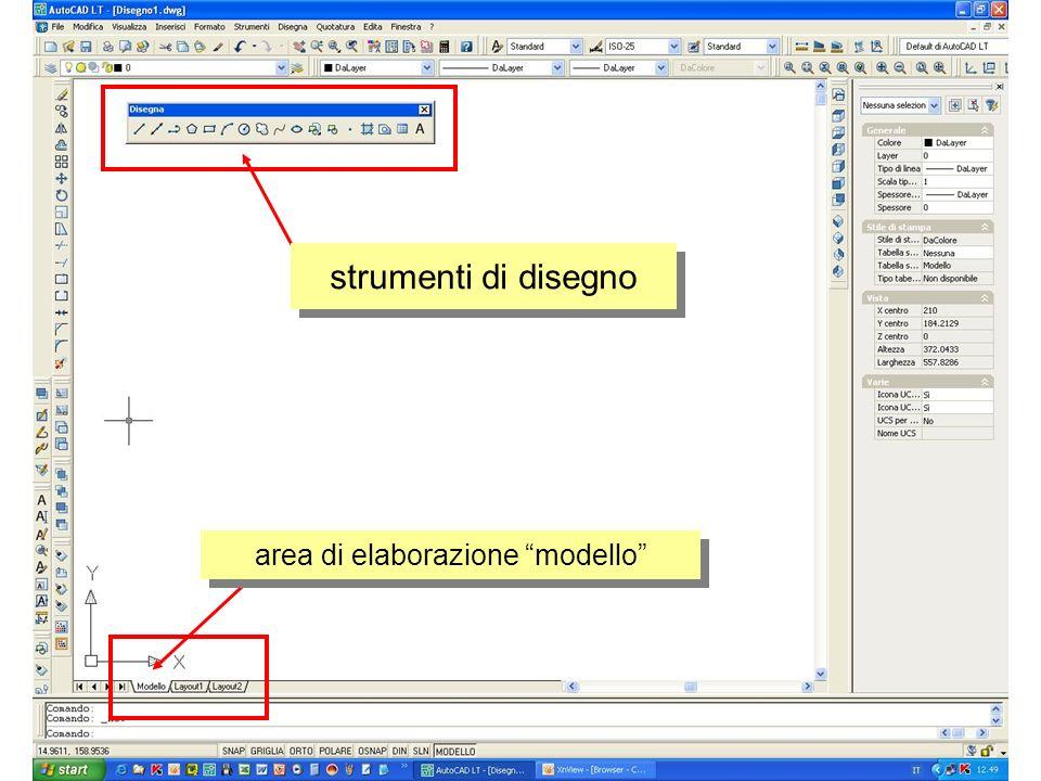 area di elaborazione modello strumenti di disegno