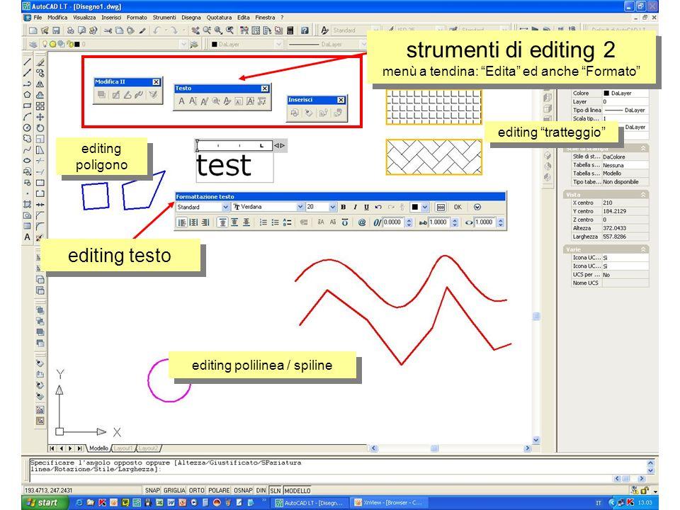 editing poligono editing polilinea / spiline editing tratteggio editing testo strumenti di editing 2 menù a tendina: Edita ed anche Formato