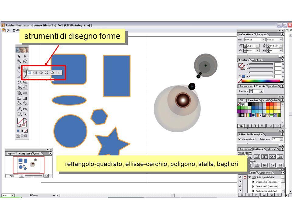 strumenti di disegno forme rettangolo-quadrato, ellisse-cerchio, poligono, stella, bagliori